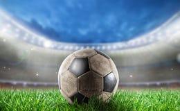 Soccerball на стадионе готовом для кубка мира Стоковая Фотография RF