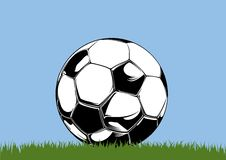 Soccerball 1. Soccer ball lies at the grass Royalty Free Stock Images