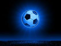 Soccerball avec la ligne d'horizon d'herbe Photographie stock libre de droits