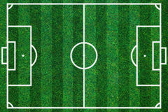 Soccerball field green grass background. Flat lay Royalty Free Stock Photo