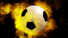 Soccerball on fire stock footage