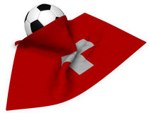 Soccerball och flagga av Schweiz stock illustrationer
