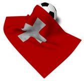 Soccerball och flagga av Schweiz royaltyfri illustrationer