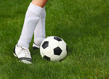 Soccerball and Player Stock Image