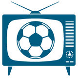 Soccerball in retro TV Stock Images