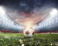Soccerball at the stadium ready for match. Soccerball at the stadium ready for the match royalty free stock images