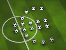 Soccerballs che dissipa un euro simbolo Fotografia Stock