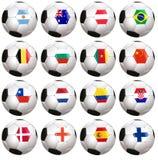 Soccerballs con la bandera de país Foto de archivo libre de regalías