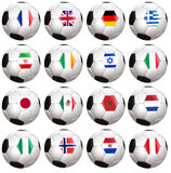 Soccerballs with country flag Stock Photography