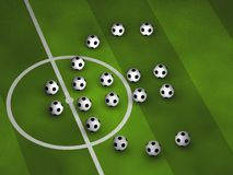 Soccerballs drawing an Euro symbol. Some soccerballs drawing an Euro symbol on a green pitch stock illustration
