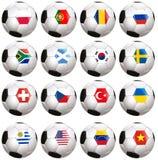 Soccerballs z kraj flaga Zdjęcie Royalty Free