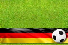 Soccerfield with german flag Royalty Free Stock Images