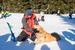Soccorritore ed il suo cane di servizio Fotografia Stock Libera da Diritti