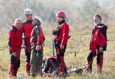 Soccorritori da servizio di salvataggio della montagna Fotografia Stock