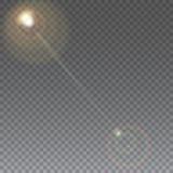 Słońce z obiektywu racą, wektorowy tło Zdjęcia Stock