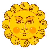 Słońce z twarzą Obrazy Royalty Free