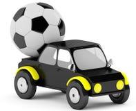 socer 3D Ball in einem schwarzen Auto Stockfotografie