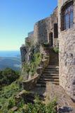 Socerb城堡入口楼梯,斯洛文尼亚 免版税库存照片