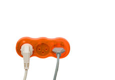 Socets with inserted power plugs Stock Images