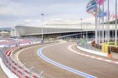 Sochi Ολυμπιακή περιοχή και αυτοκίνητος τύπος 1 κυκλωμάτων Στοκ φωτογραφία με δικαίωμα ελεύθερης χρήσης