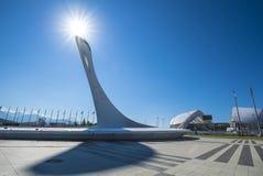 Sochi, Adler, Russland - 6. Juli 2016: Feuer von Olympischen Spielen am Park während des Weltchores Lizenzfreie Stockfotos