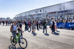 Sochi autodrom, the Fans of formula 1 is waiting for the grounds. Sochi, Russia -9 November 2014 : Formula One, Russian Grand Prix, Sochi autodrom , 16 stage Stock Photography