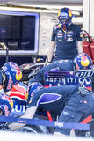 Sochi autodrom, the mechanics of the team red bull are trained i. Sochi, Russia -9 November 2014 : Formula One, Russian Grand Prix, Sochi autodrom , 16 stage Royalty Free Stock Photo