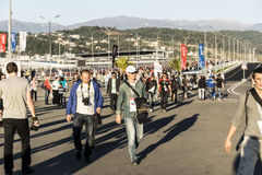 At Sochi autodrom.On the pedestrian bridge. Sochi, Russia -11 November 2014 : Formula One, Russian Grand Prix, Sochi autodrom , 16 stage Royalty Free Stock Image