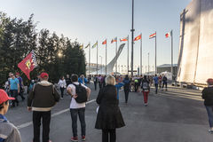 At Sochi autodrom. People are going to the concert Leni Kravitz. Sochi, Russia -11 November 2014 : Formula One, Russian Grand Prix, Sochi autodrom , 16 stage Royalty Free Stock Photo