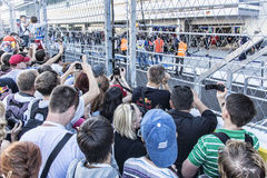 Sochi autodrom, the Queue in the pitlane. Sochi, Russia -9 November 2014 : Formula One, Russian Grand Prix, Sochi autodrom , 16 stage Stock Photos
