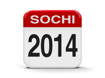 Sochi 2014. Calendar web button - Sochi 2014, three-dimensional rendering Royalty Free Stock Photo