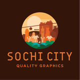 Sochi city logo vector illustration of buildings and landmarks Stock Photography