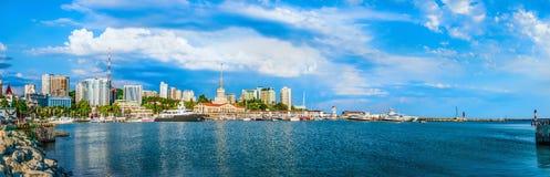Sochi cloud summer city buildings sea black russia urban panoram. The city of Sochi a beautiful landscape with a city landscape. Beautiful card Royalty Free Stock Photos