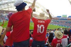 Sochi, das Stadion fisht Die Fans füllten das Stadion Match Portugal gegen Spanien lizenzfreie stockfotografie