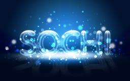 Sochi escrita neón. Juegos de olimpiada de invierno 2014. Fotografía de archivo