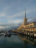 Sochi havsport på solnedgången Arkivfoto