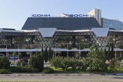 Sochi International Airport, Adler, Krasnodar region, Russia. Adler, Sochi, Krasnodar region, Russia - July 12, 2016: View of the building International Airport stock photography