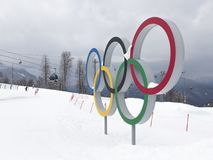 Five Olympic rings in Sochi, Russia. Sochi - March 29, 2017: Five Olympic rings and people and funicular in the background March 29, 2017, Sochi, Russia Stock Photo