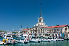 Sochi Marine Station and the yacht pier royalty free stock photo