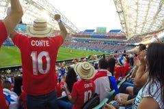 Sochi, o fisht do estádio Os fãs encheram o estádio Fósforo Portugal contra a Espanha foto de stock