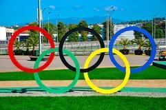 Sochi Olimpijski park Sochi Rosja, Październik - 2 2018 - pier?cienie olimpijskich obraz royalty free