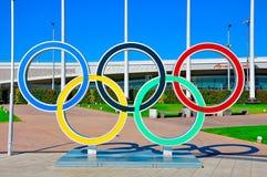 Sochi Olimpijski park Sochi Rosja, Październik - 2 2018 - pier?cienie olimpijskich fotografia stock