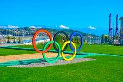 Sochi Olimpijski park Sochi Rosja, Październik - 2 2018 - pier?cienie olimpijskich obrazy stock