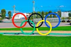 Sochi Olimpijski park Sochi Rosja, Październik - 2 2018 - pier?cienie olimpijskich zdjęcie royalty free