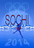 Sochi Olympic Games illustration. 2014 Olympic winter games illustration with landscape and ice skater