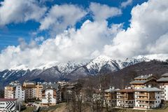 Sochi Olympic village Rosa Khutor snowy mountains in the backgroun royalty free stock photography