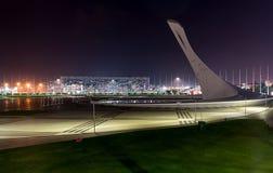 Sochi-Park Gesangbrunnen im Olympiapark Olympische Flamme Stockfotos