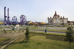Sochi Park - theme park and Bogatyr Hotel Royalty Free Stock Photo