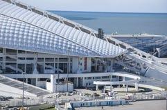 Sochi, Rússia - 24 de setembro: Estádio de futebol Fischt no parque que prepara-se para o campeonato do mundo 2018 o 24 de setemb Imagem de Stock