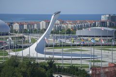 Sochi, Rússia - 11 de setembro: Fogo dos Jogos Olímpicos o 11 de setembro de 2017 Foto de Stock Royalty Free